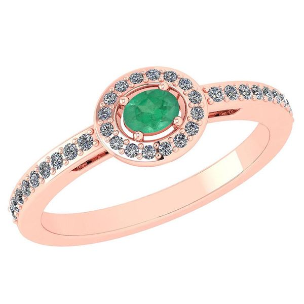 Certified 0.29 Ctw Emerald And Diamond 14k Rose Gold Ha