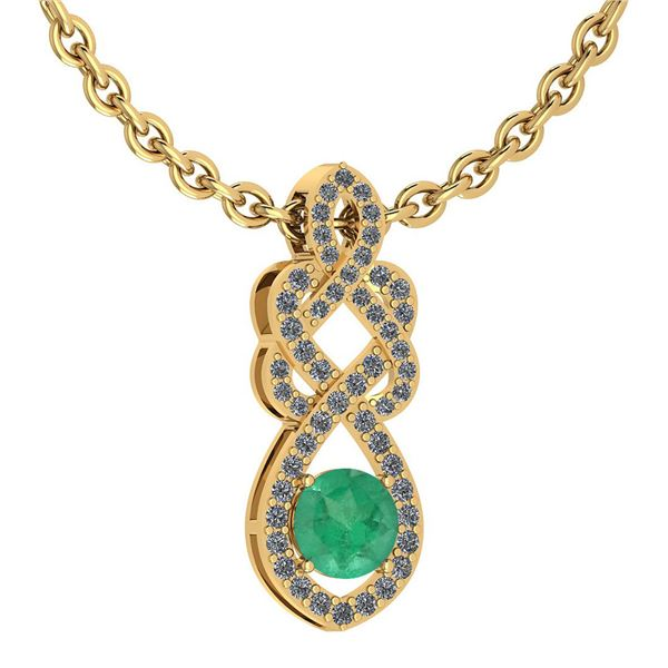 Certified 1.26 Ctw Emerald And Diamond VS/SI1 Necklace
