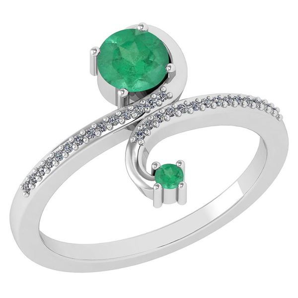 Certified 0.85 Ctw Emerald And Diamond 14k White Gold H
