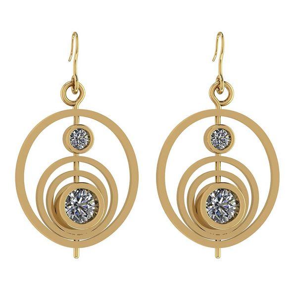 Certified 1.10 Ctw Diamond I1/I2 14K Yellow Gold Earrin