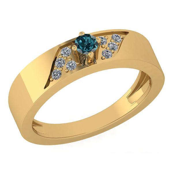 Certified 0.19 Ctw Treated Fancy Blue Diamond 18K Yello