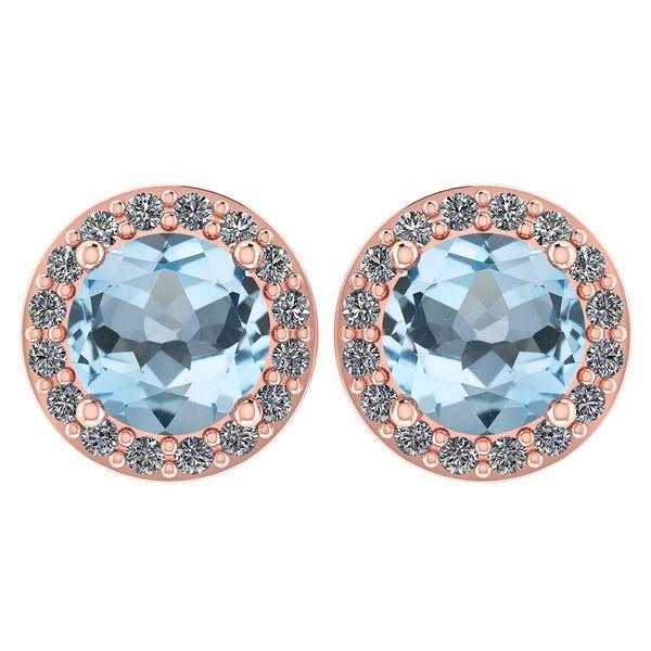 Certified 1.6 Ctw Aquamarine And Diamond 14k Rose Gold