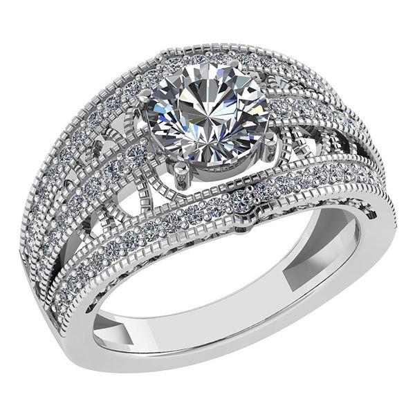Certified 1.78 Ctw Diamond Wedding/Engagement 14K White
