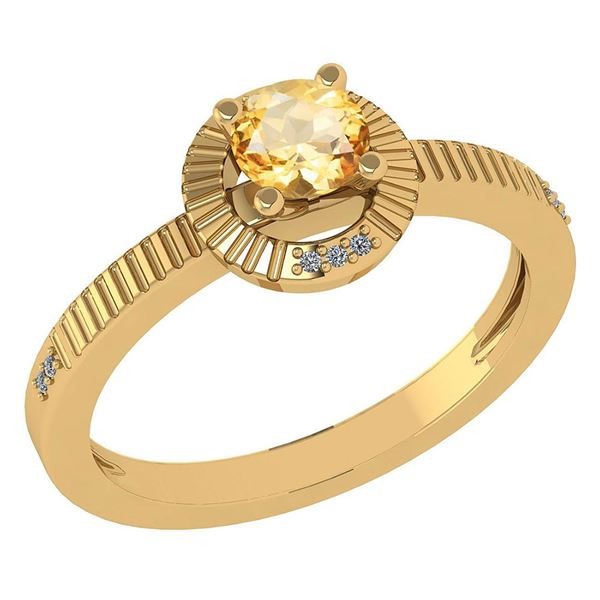 Certified 0.37 CTW Citrine And Diamond 14k Yellow Gold