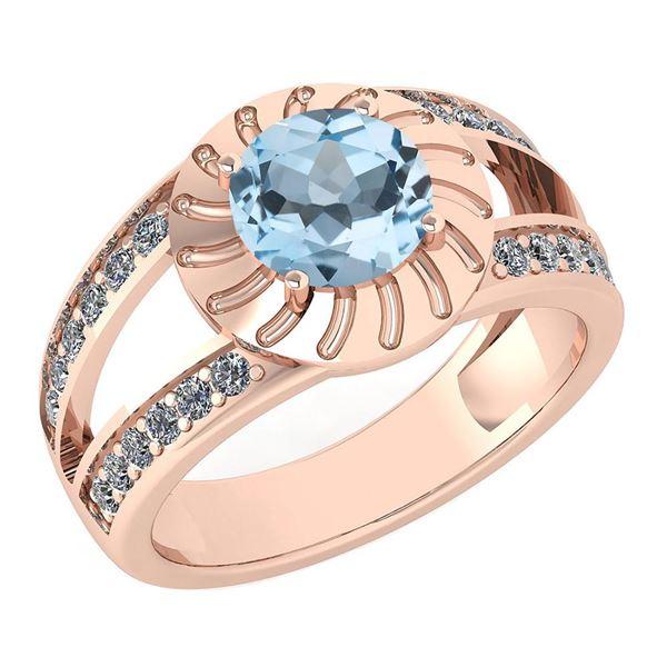 Certified 1.58 Ctw Aquamarine And Diamond Wedding/Engag