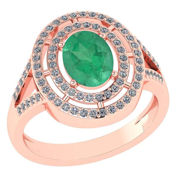 Certified 1.66 Ctw Emerald And Diamond 14k Rose Gold Ha