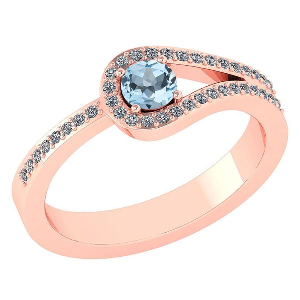 Certified 1.30 Ctw Aquamarine And Diamond 14k Rose Gold