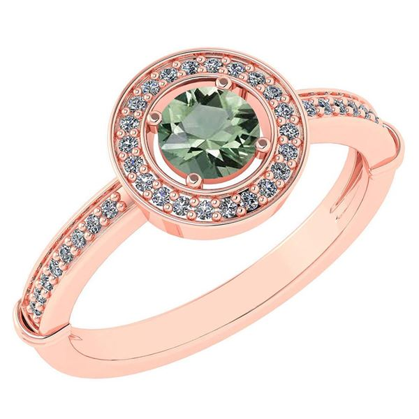 Certified 0.94 Ctw Green Amethyst And Diamond 14k Rose