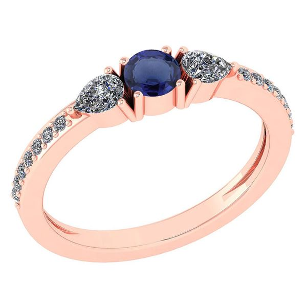 Certified 0.78 Ctw Blue Sapphire And Diamond 14k Rose G