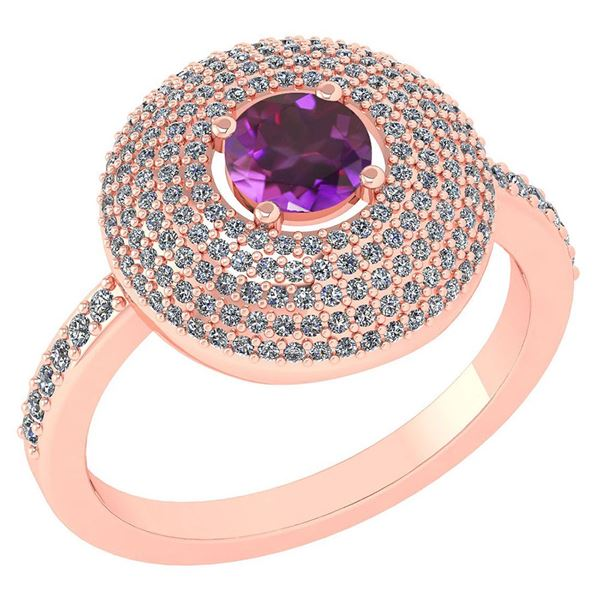 Certified 0.99 CTW Amethyst And Diamond 14k Rose Gold H