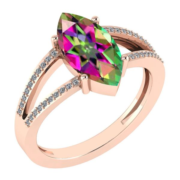 Certified 2.20 Ctw Mystic Topaz And Diamond VS/SI1 Ring