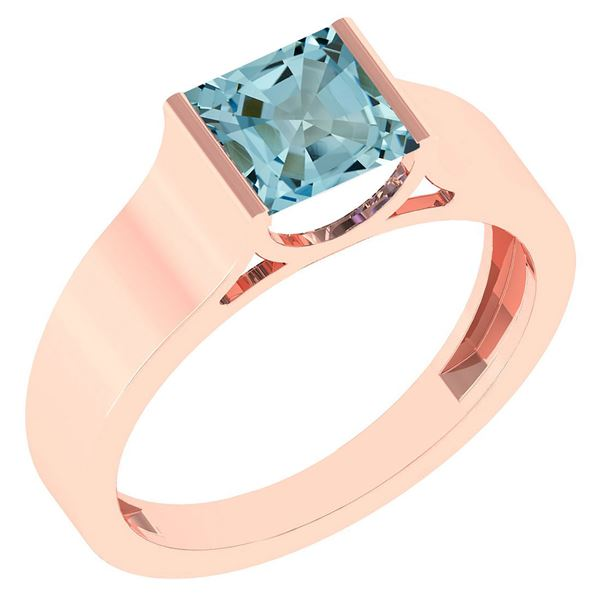 Certified 0.75 Ctw Aquamarine 18k Rose Gold Ring