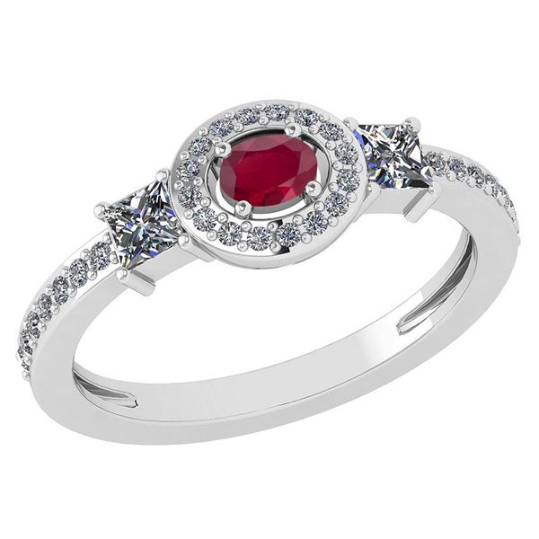 Certified 0.77 Ctw Ruby And Diamond 14k White Gold Halo