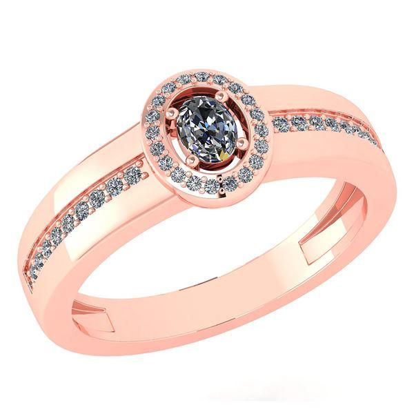 Certified 0.35 Ctw Diamond 14K Rose Gold Promise Ring