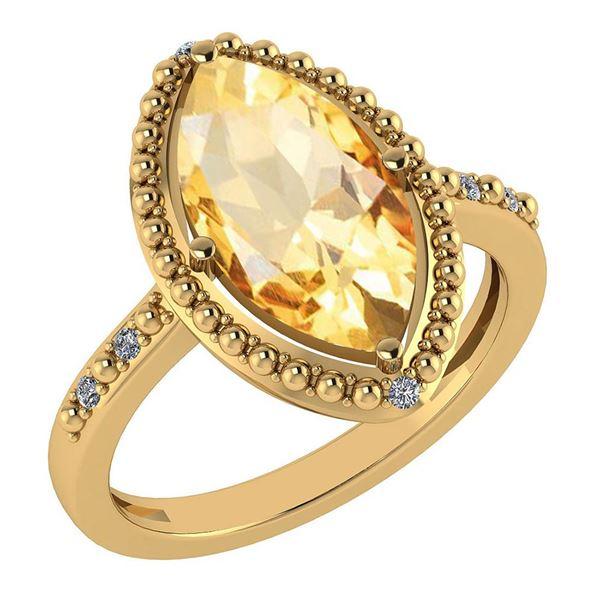 Certified 1.58 Ctw Citrine And Diamond VS/SI1 Ring 14k