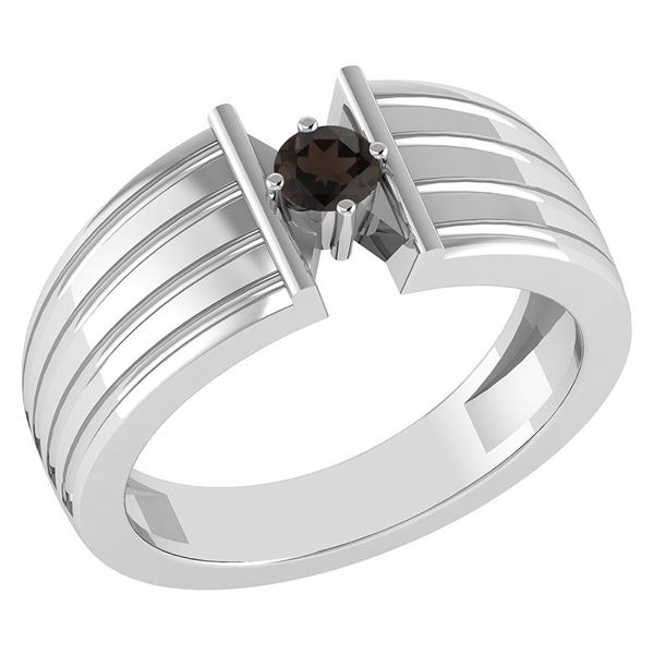 Certified 0.20 Ctw Smoky Quartz Solitaire Ring 14K Whit