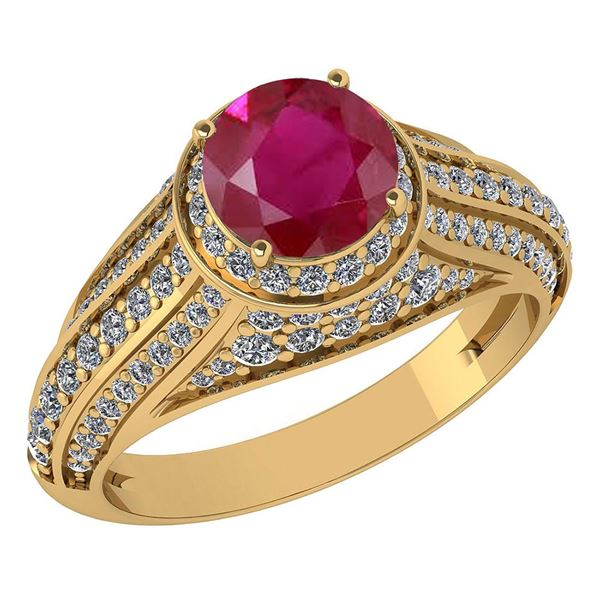 Certified 2.30 Ctw Ruby And Diamond Wedding/Engagement
