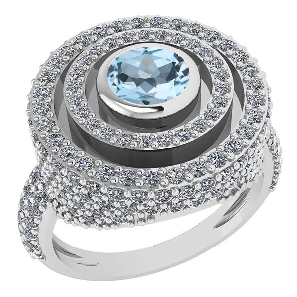 Certified 2.05Ctw Aquamrine And Diamond Wedding/Engagem