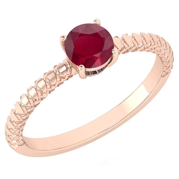 Certified 0.45 Ctw Ruby Solitaire Ring with Filigree St