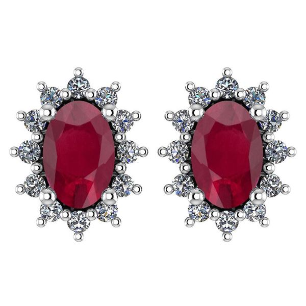 Certified 1.24 Ctw Ruby And Diamond 14k White Gold Halo