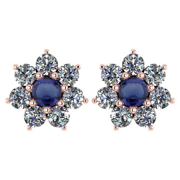 Certified 1.86 Ctw Blue Sapphire And Diamond 14k Rose G