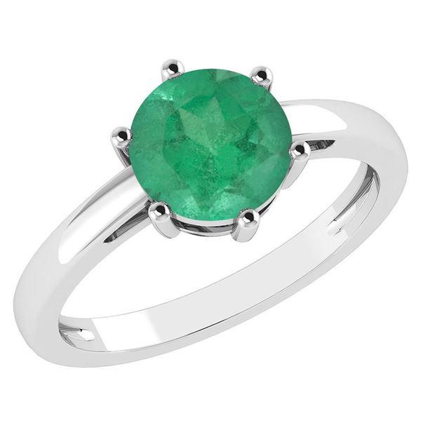 Certified 1.00Ctw Genuine Emerald 14k White Gold Halo R