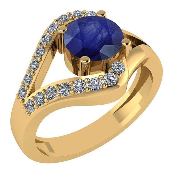 Certified 1.04 Ctw Blue Sapphire And Diamond Wedding/En
