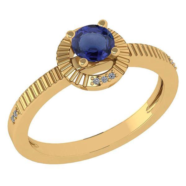 Certified 0.37 CTW Blue Sapphire And Diamond 14k Yellow