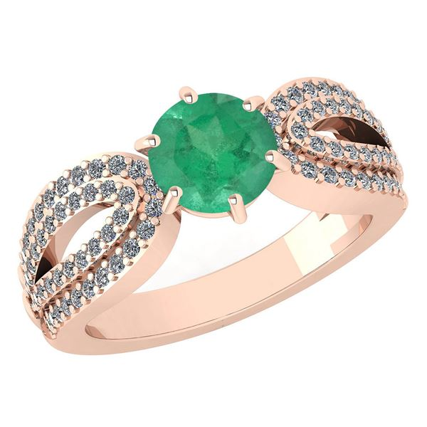 Certified 1.71 Ctw Emerald And Diamond Wedding/Engageme
