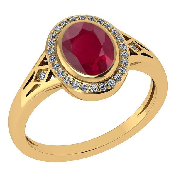 Certified 1.39 Ctw Ruby And Diamond 14k Yellow Gold Hal