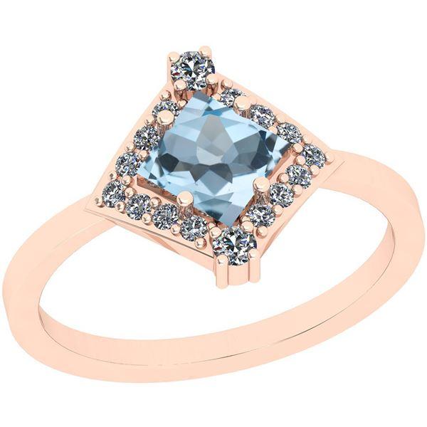 Certified 0.95 Ctw I2/I3 Blue Topaz And Diamond 10K Ros