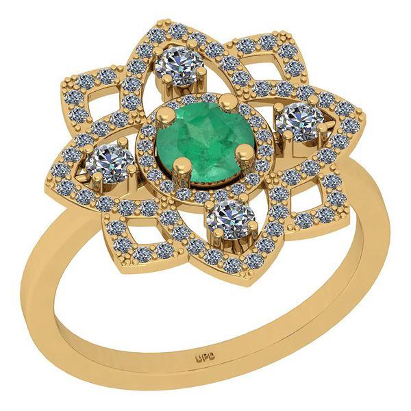 Certified 1.21 Ctw SI2/I1 Emerald And Diamond 14K Yello