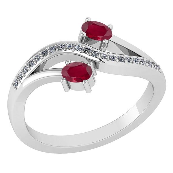 Certified 0.53Ctw Ruby And Diamond 14k White Gold Halo