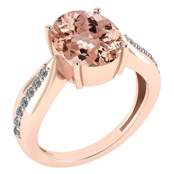 Certified 5.30 Ctw Morganite And Diamond VS/SI1 Ring 14