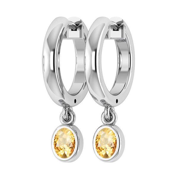 Certified 1.00 Ctw Citrine Hoop Earrings 14K White Gold