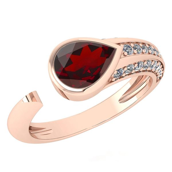 Certified 1.54 Ctw Garnet And Diamond VS/SI1 Ring 14K R
