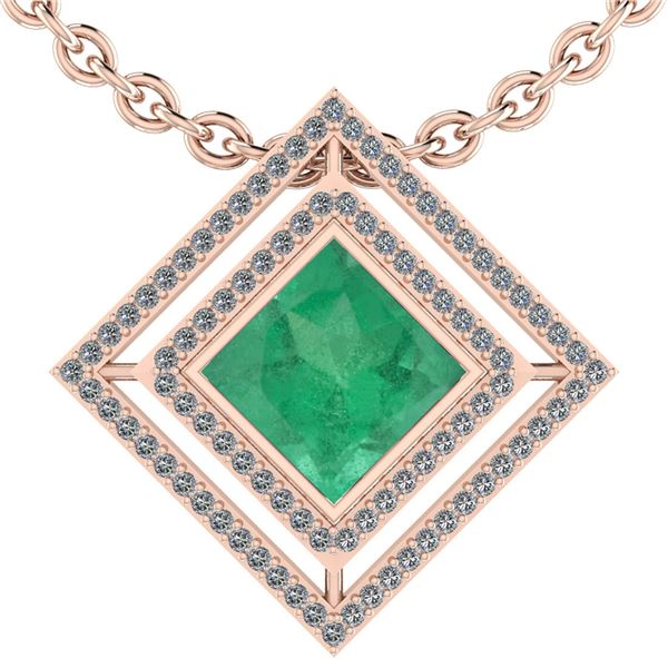 Certified 2.40 Ctw Emerald And Diamond SI1/SI2 14K Rose