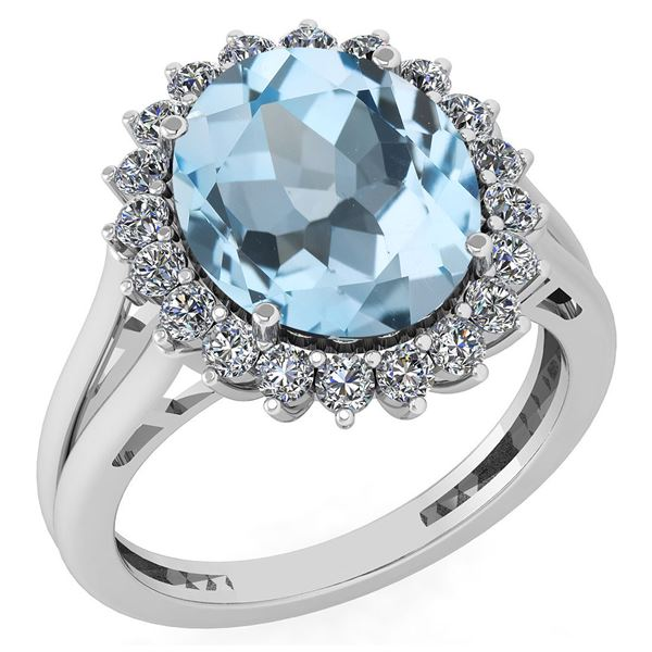 Certified 5.65 Ctw Blue Topaz And Diamond VS/SI1 Halo R