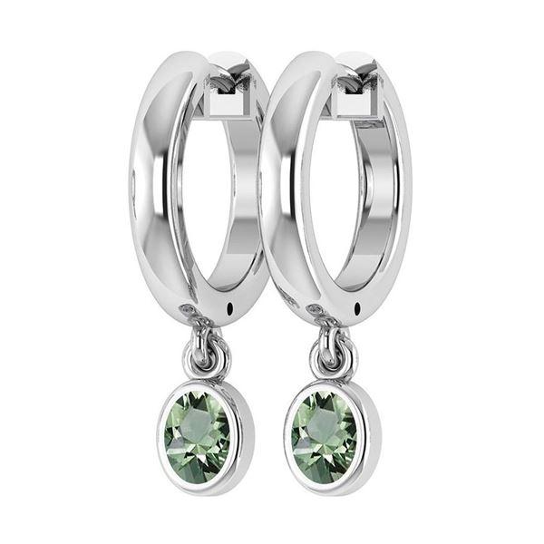 Certified 1.00 Ctw Green Amethyst Hoop Earrings 14K Whi