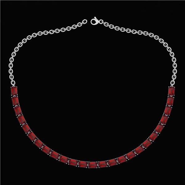 Certified 12.50 Ctw Garnet Emerlad Cut Shape Necklace F