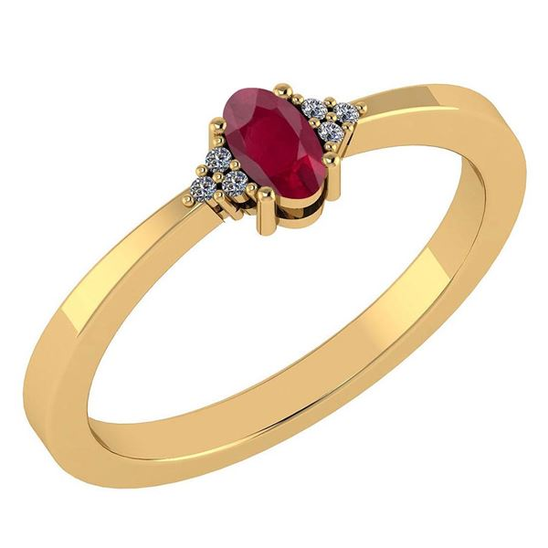 Certified 0.24 Ctw Ruby And Diamond 18K Yellow Gold Hal
