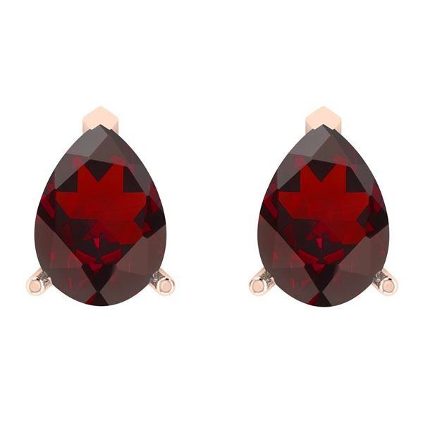 Certified 1.50 Ctw Garnet 14K Rose Gold Stud Earrings