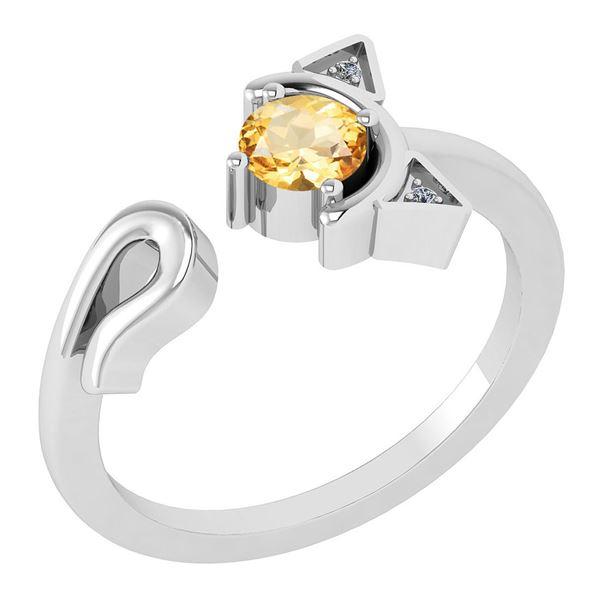 Certified 0.46 Ctw Citrine And Diamond VS/SI1 Ring 14K