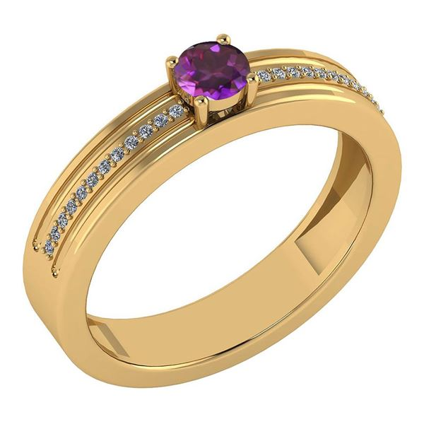 Certified 0.29 Ctw Amethyst And Diamond 18k Yellow Gold