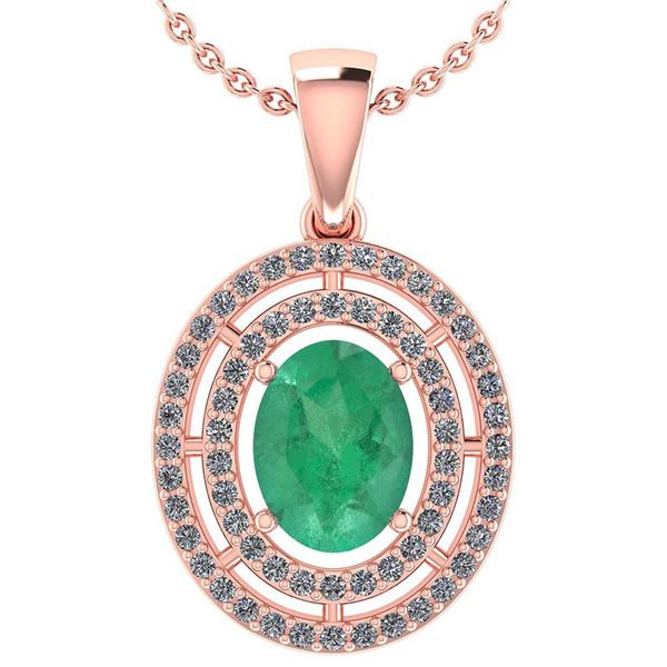 Certified 1.56 Ctw Emerald And Diamond 18K Rose Gold Ha