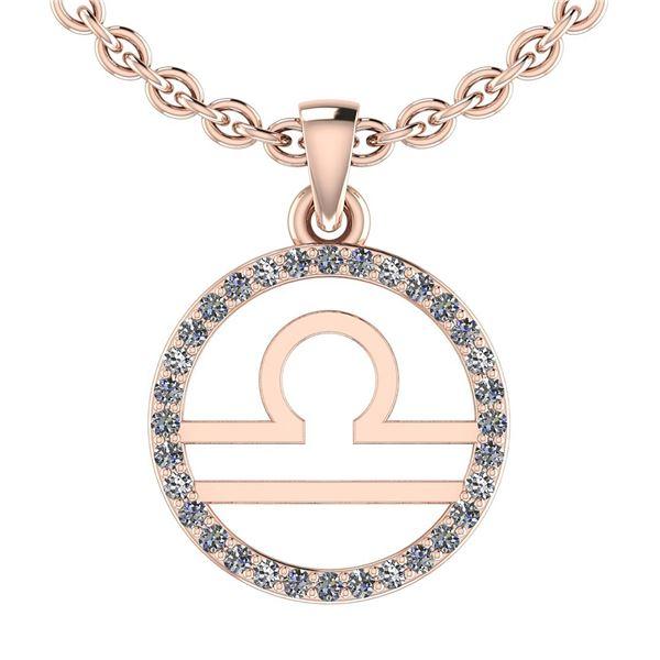 Certified 0.14 Ctw SI2/I1 Diamond 14K Rose Gold Zodiac
