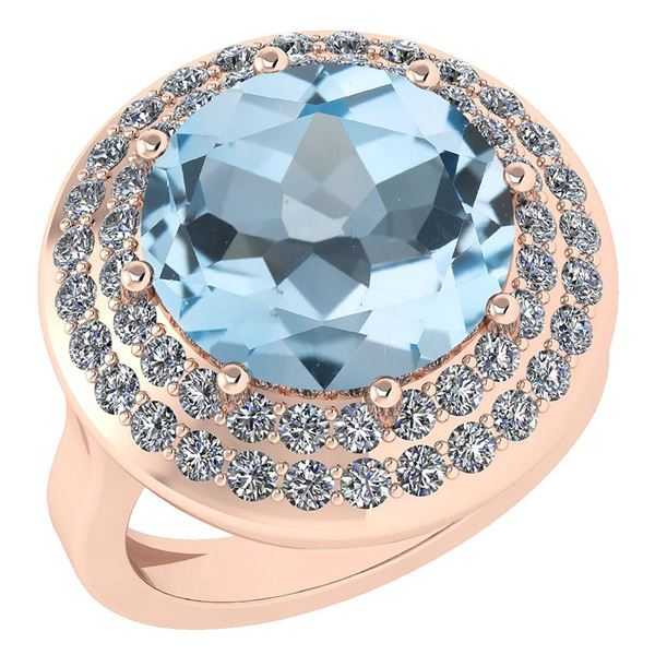 Certified 7.30 Ctw Blue Topaz And Diamond VS/SI1 Halo R