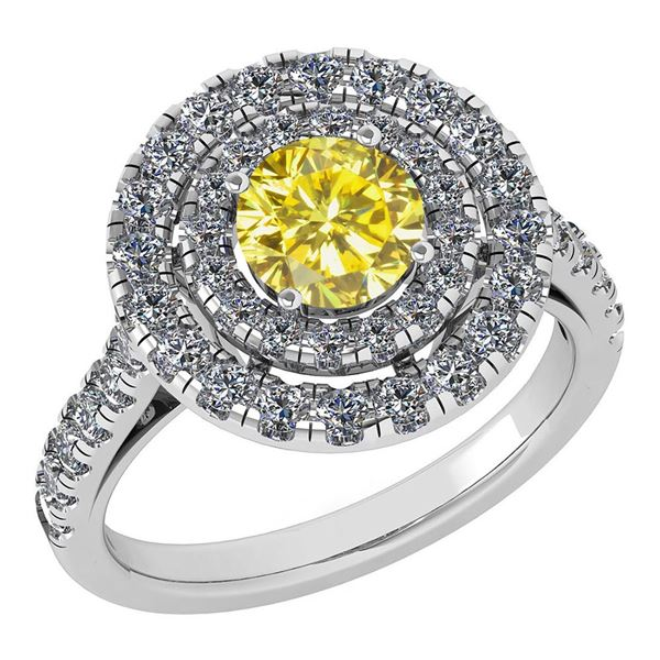 Certified 1.99 Ctw Treated Fancy Yellow Diamond And Whi