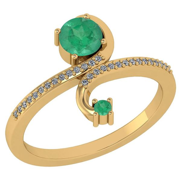 Certified 0.85 Ctw Emerald And Diamond 14k Yellow Gold