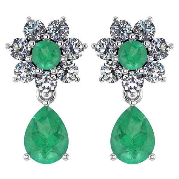 Certified 4.86 Ctw Emerald And Diamond Platinum Halo Da